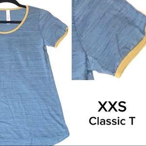 LuLaRoe XXS Blue/yellow heathered classic T top